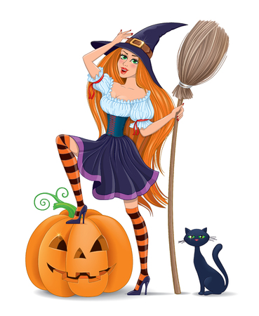 hair mask: Girl in a witch costume with a pumpkin.