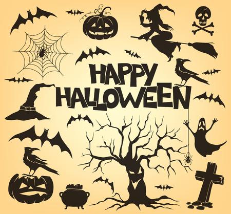 arboles secos: Halloween conjunto de atributos.