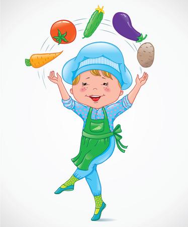 food and beverage: Baby cook juggles vegetables. eps10