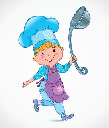 stirring: Chef kids with ladle. eps10 Illustration