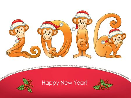 flying monkey: New year card monkey. Eps10.