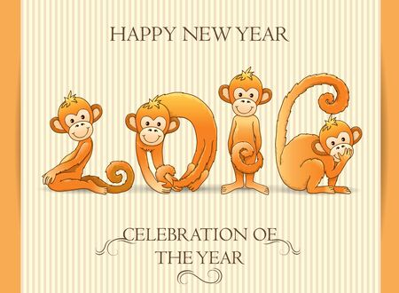 flying monkey: postcard Happy New Year 2016. Illustration