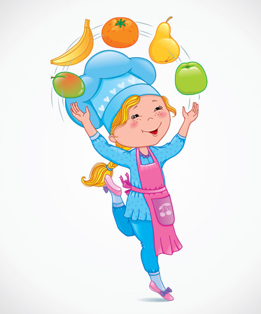 chef clipart: Baby cook juggles fruits. Eps10