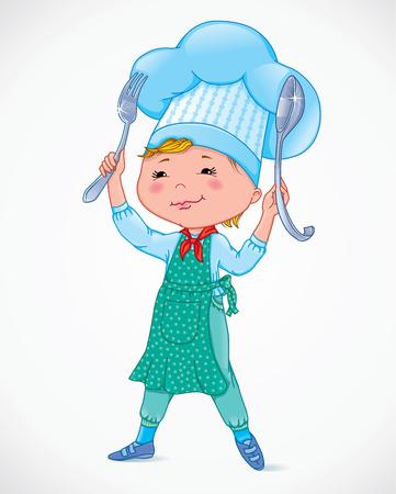 Kok van de baby met vork en lepel.