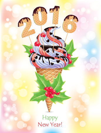 cartoon berries: New year ice creams. Eps10
