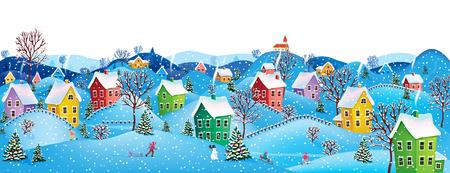 Winter landelijke landschap naar een gelukkig kerstfeest