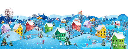 Winter rural landscape to a happy Christmas Ilustracja