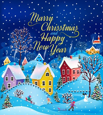 Christmas card with the countryside and snow.