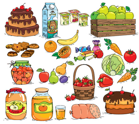 dairy products: A set of vegetables, fruit, sweets and dairy products.