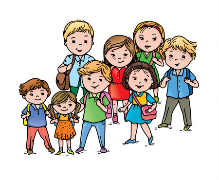 ages: Group smiling pupils different ages. Illustration
