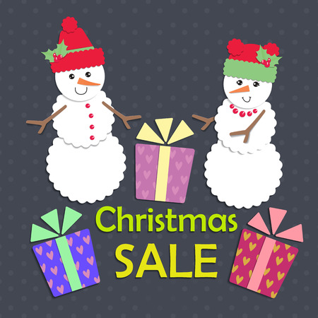 holly day: Snowman in a red cap with gifts and sales.