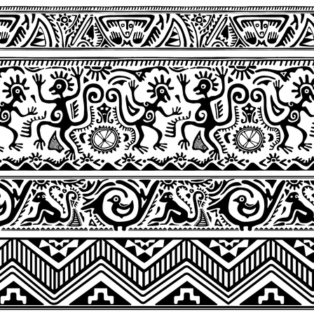 african mask: Seamless pattern of African primitive art.