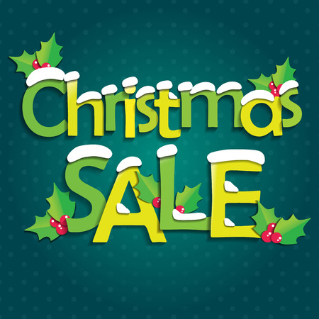holly day: Christmas sale with snow and holly berry.