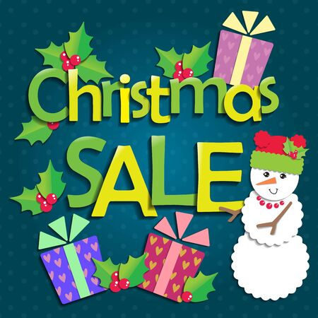 christmas gifts: Christmas sale with snowman and gifts. Illustration