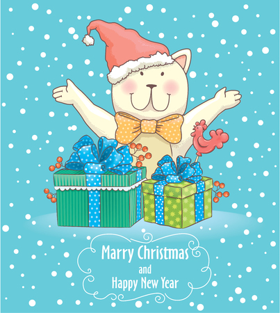 mood: Christmas card with smile cat.
