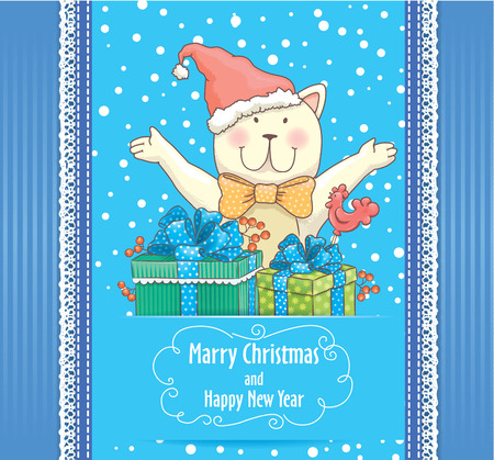 merry mood: New Year card with smile cat Illustration