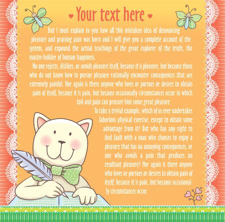 writes: Background text cat writes. eps10