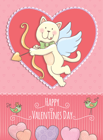 valentine cat: Valentine Day card with cat. Illustration