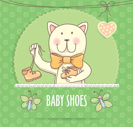 baby shoes: Baby shoes banner with cat.