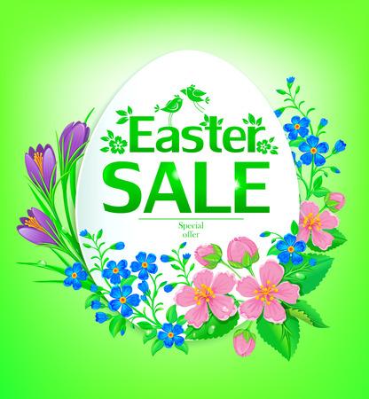 stamen: Easter sale. Banner with flowers on the background Easter egg. Illustration