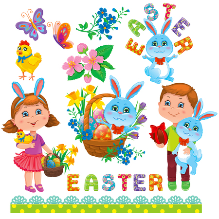 forget me not: Easter holiday set. Girl, Boy, Easter Bunny, Easter eggs, flower, basket, chick, text,