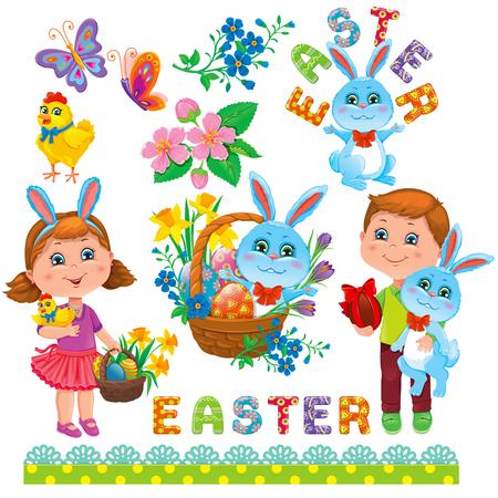 flower basket: Easter holiday set. Girl, Boy, Easter Bunny, Easter eggs, flower, basket, chick, text,