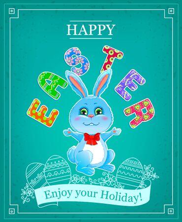 felicitaciones: Conejito Feliz Pascua. Conejo de Pascua con un arco Feliz Pascua