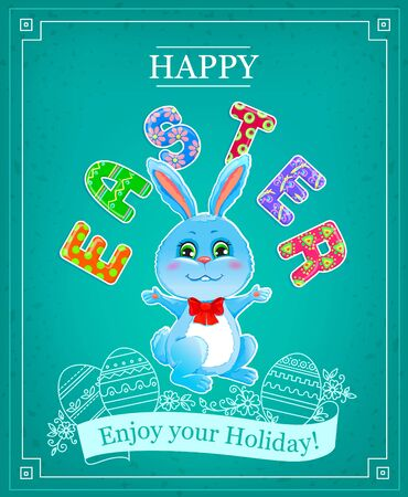 congratulations text: Happy Easter Bunny. Easter bunny with a bow Happy Easter