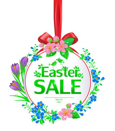 forget me not: Easter sale banner round. Banner decorated with forget-me, crocuses, daffodils and cherry blossom