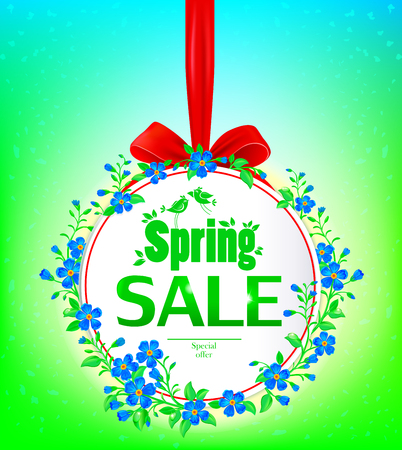 stamen: Spring sale banner. Banner decorated with forget-me-not.