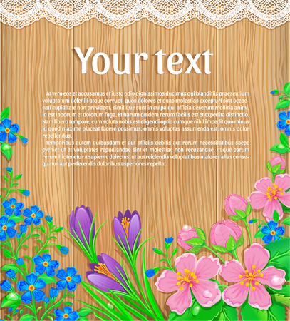 wood board: Congratulatory text and fresh spring flowers on a wooden background texture