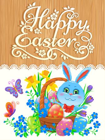 easter eggs basket: Near a congratulatory inscription represented: butterflies, Easter bunnies and Easter eggs basket,