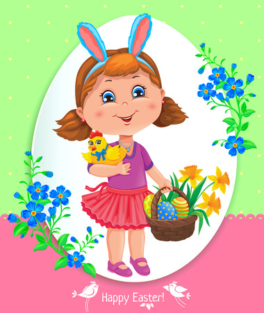 frock: Easter card with a girl, chicken, flowers and basket of eggs.