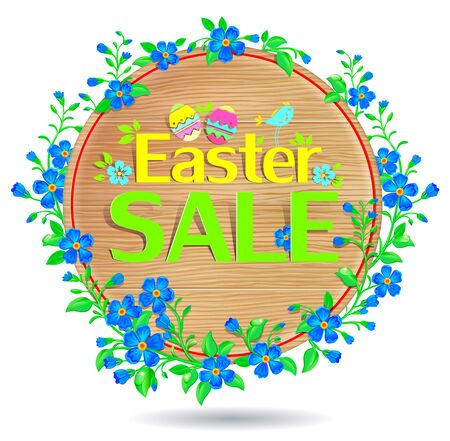Easter sale banner on the background of wood texture and forget-me.