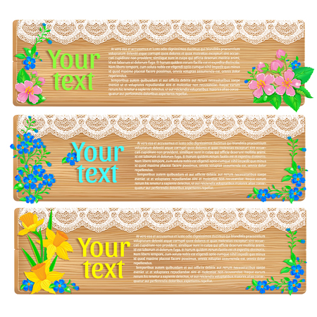 congratulatory: Congratulatory text and fresh spring flowers on a wooden background texture. Horizontal.