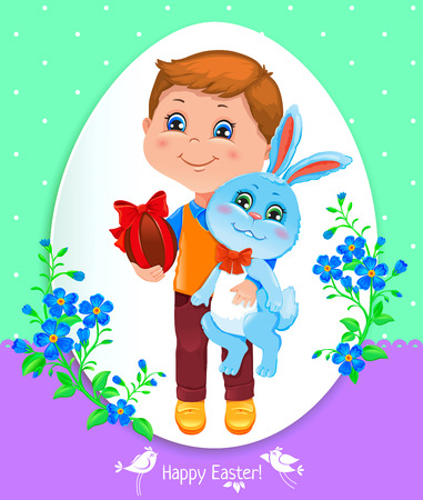 frock: Easter card with a boy who holds a rabbit and a easter egg with a ribbon. Illustration