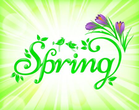 green flowers: Fresh and bright spring background with flowers and birds.
