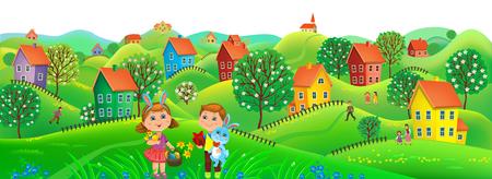 children background: Horizont Easter banner. Illustration