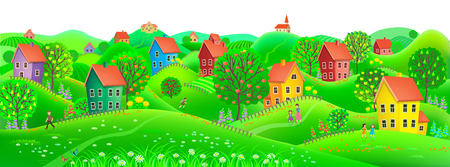 Beautiful summer horizontal banner depicting a village with trees and fruits to them. Illustration