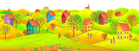 horizontal: Beautiful autumn horizontal banner depicting a village with trees in autumn colors. Illustration