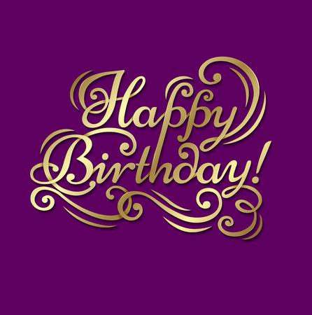 """auguri di compleanno: testo di congratulazioni """"Happy Birthday"""" su uno sfondo viola con lettere d'oro. Vettoriali"""