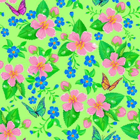 pink flower: Bright seamless pattern of flowers and butterflies