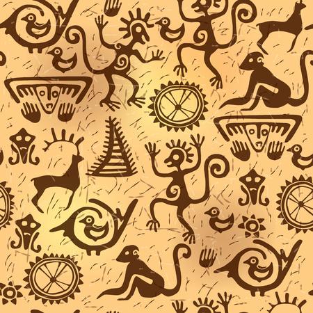 Nahtlose Muster darstellt Schamanen, Tiere und Figuren im Stil der Felskunst.