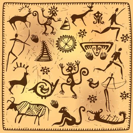 peinture rupestre: Elements ancien art pétroglyphe africain.