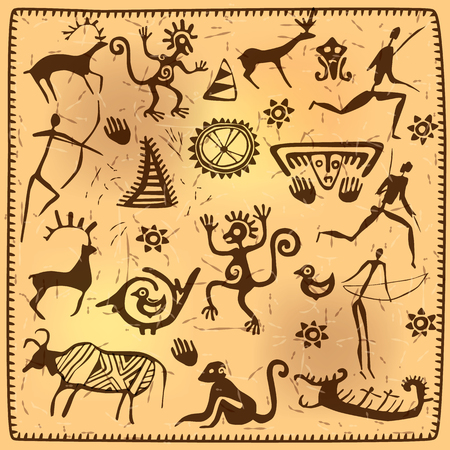 Elements African petroglyph art old.