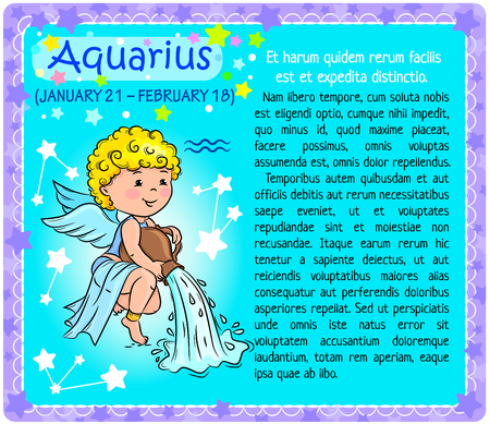 aquarius: Boy showing sign of the zodiac  Aquarius  on a turquoise background with a block of text Illustration