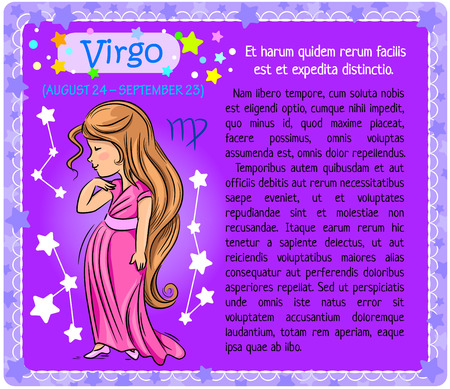 virgo zodiac sign: Girl showing sign of the zodiac virgo on a purple background with a block of text. Illustration