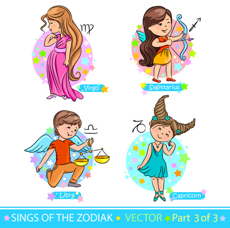 Children representing the signs of the zodiac. Vectores