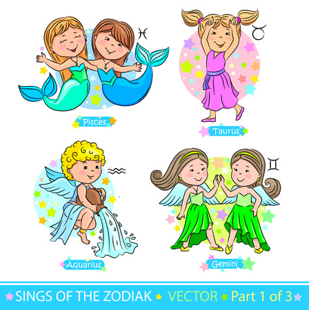 Children representing the signs of the zodiac. Illustration