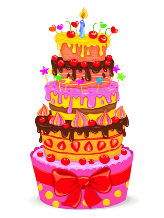 celebratory: Celebratory beautiful cake with fruits, chocolate and candle Illustration